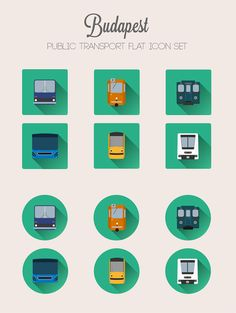 Budapest Public Transport - flat icon set on Behance Scrapbook, Paris, Material Design, Public Transport, Icon Set, Real Life, Transportation, Behance, Design Inspiration