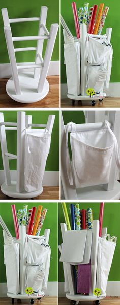 Clever! Turn an old stool into a craft room organizer. Screw rolling coasters into the top of stool. Turn upside down. Tie canvas bags onto the outside legs and fill the inside with Christmas paper rolls or whatever you have.