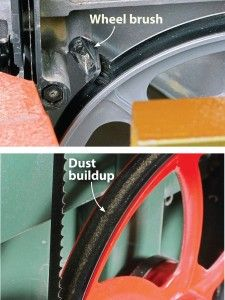 Use a wheel brush for a clean sweep on the bandsaw.