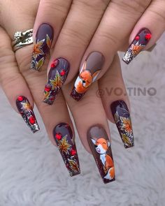 55 Trendy Fall Nail Art Designs to Try Right Now - - - Nageldesign Fall Nail Art Designs, Nail Polish Designs, Beautiful Nail Designs, Nails Design, Gel Nail Art, Acrylic Nails, Matte Nails, Coffin Nails Long, Luxury Nails