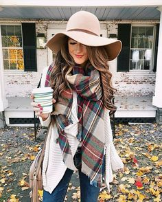 plaid blanket scarf inspirations to keep this winter fashion outfits with hats, scarf Thanksgiving Outfit, Fall Winter Outfits, Autumn Winter Fashion, Fall Photo Outfits, Winter Wear, Spring Outfits, Floppy Hat Outfit, Floppy Hats, Wool Hat Outfit