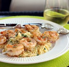 Grilled Shrimp with Garlicky Parmesan Orzo