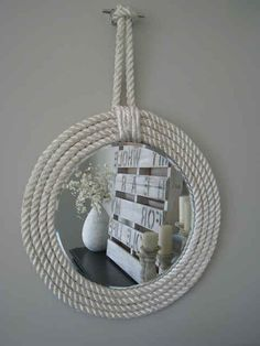 33 Nautical DIYs That Will Transport You To The Beach!!! Bebe'!!! Love this Nautical Rope Mirror!!! Easy to Make and It has Lots of Style!!!