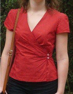 Blusa transpassada com drapeado e manga | DIY - molde, corte e costura - Marlene Mukai