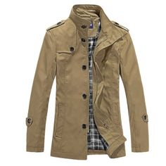 Allegra K Mens Long Sleeve Button Closure Autumn Trench Coat