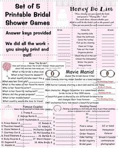 Bridal Shower Games Set  I like Honey Do List and Know the Bride!