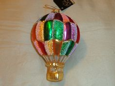 Hot Air Balloon Glass Christmas Tree Ornament Large
