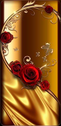 By Artist Unknown. By Artist Unknown. Wallpaper Nature Flowers, Rose Flower Wallpaper, Rose Gold Wallpaper, Bling Wallpaper, Abstract Iphone Wallpaper, Framed Wallpaper, Beautiful Flowers Wallpapers, Watercolor Wallpaper, Heart Wallpaper