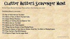 Clutter Busters Hunt Scavenger Hunt