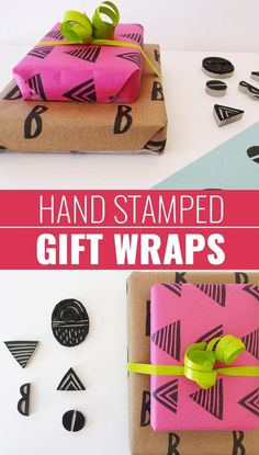 DIY Gift Wrapping Ideas - How To Wrap A Present - Tutorials, Cool Ideas and Instructions | Cute Gift Wrap Ideas for Christmas, Birthdays and Holidays | Tips for Bows and Creative Wrapping Papers |  Linoleum-Hand-Stamped-Gift-Wraps  |  http://diyjoy.com/how-to-wrap-a-gift-wrapping-ideas