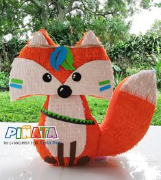 Piñata zorro Piñata animales del bosque Piñata animales Birthday Pinata, 1st Boy Birthday, Woodland Party, Baby Boy Shower, First Birthdays, Party Time, Dinosaur Stuffed Animal, Crafts For Kids, Fun