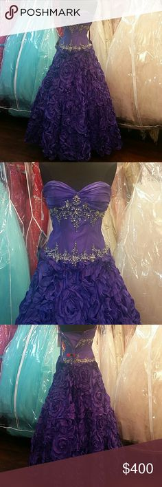 NWT Purple Rose Ballgown Brand new, authentic P.C. Mary's Bridal Quinceanera dress, sweetheart neckline, corset back, with embroidery on the bodice Flower rose skirt makes this dress dreamy and unforgettable, can be worn with or without petticoat. Great for prom, homecoming, wedding, pageants, Quince/Quinceanera, Sweet 16, parties, or any formal event. Deep purple/plum color, size 10, but can fit sizes 8 and 12. Comes with matching bolero jacket. Sherri Hill for exposure. Sherri Hill Dresses…