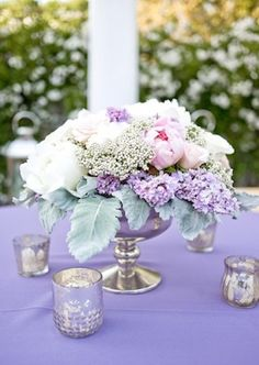 Vintage Chic Floral Centerpiece | Flowers by Gavita Flora | Photo by Janet Love Photography #Peony #Lavender #Lilac #Wedding