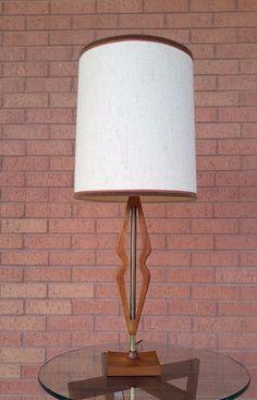 Vintage Mid Century Danish Modern Walnut Sculpted Table Lamp in | eBay