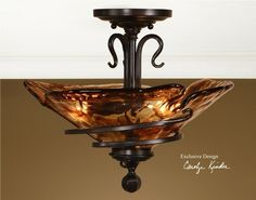 Uttermost 22269 Vitalia Semi Flush Mounted Ceiling Light.  Authorized Uttermost Lighting and Home Decor Retailer Since 1996. Free Shipping. Guaranteed Lowest Prices. BellaSoleil.com Tuscan Decor.