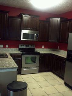Kitchen granite counter tops beautiful dark cabinets!