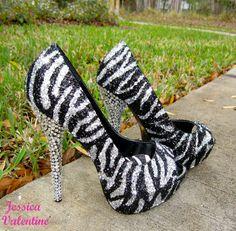 Zebra Silver & Black Glitter Heels by RippedClothing on Etsy