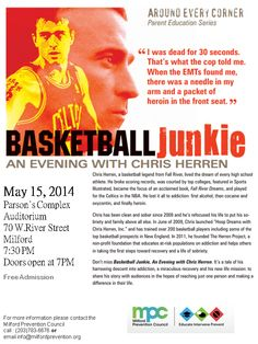 Chris Herren coming to Milford May 15th free and open to the public, Parsons complex 70 west river street 7 pm doors open