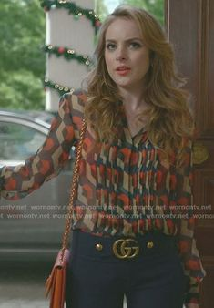 Fallon's printed blouse and blue cropped pants on Dynasty Gossip Girl Fashion, Fashion Tv, Work Fashion, Fashion Outfits, Dynasty Tv Show, Classy Outfits, Casual Outfits, Classy Casual, Trendy Outfits