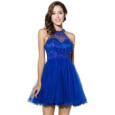 Cocktail+Party+Dress+Ball+Gown+Halter+Short+/+Mini+Tulle+with+Beading+–+GBP+£+197.46