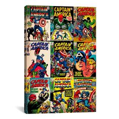 iCanvasART MRV368 Comics Retro-Book Captain America Comic Covers by Marvel Comics Canvas Print, 18 by 12-Inch, 0.75-Inch Deep