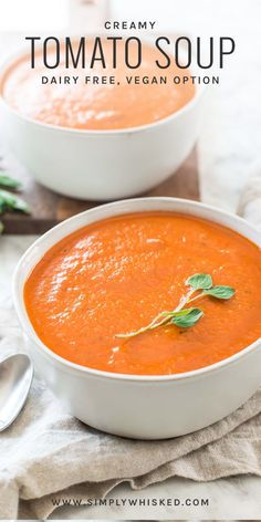 Creamy Dairy Free Tomato Soup – Simply Whisked – Dairy Free Recipes - New ideas Dairy Free Tomato Soup, Vegan Tomato Soup, Tomato Soup Recipes, Healthy Tomato Soup Recipe, Tomato Recipe, Vegan Soups, Tomato Bisque Soup, Cream Of Tomato Soup, Whole 30 Tomato Soup
