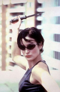 my name is Fuckface. and this is Clonetown. Trinity Matrix, The Matrix Movie, Carrie Anne Moss, Matrix Hair, The Best Films, Poses, Keanu Reeves, Looks Cool, Hair Inspo