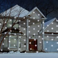Outside Projector, Projector Lamp, Black Light Bulbs, Light Bulb Types, Christmas Light Projector, Snow Effect, Merry And Bright, Outdoor Lighting, Winter Wonderland