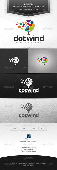 Dot Wind Logo  - EPS Template #tree #colorful • Only available here ➝ http://graphicriver.net/item/dot-wind-logo/6423093?ref=pxcr
