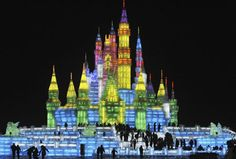 ce sculptures displayed at Harbin Ice and Snow Festival