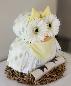 Owl Diaper Cake by MckayCakesnCrafts on Etsy