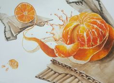 기초디자인 습작-귤,골판지 Marker, Still Life Fruit, Fruit Painting, Orange Fruit, High School Art, Ap Art, Fruit Art, Poster Making, Pencil Drawings