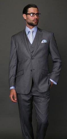 SKU#9S2X Classic 3PC 2 Button Charcoal Pinstripe three piece suit Super 150's Extra Fine Italian Fabric