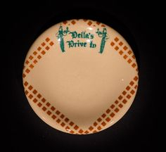 Della's Drive In, El Cerrito, Calif. Butterpat  by Tepco China (unmarked), circa 1950s Offered by Track 16. http://www.track16.com #restaurantware #restaurantchina