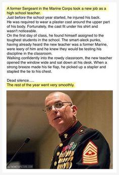 Badass Former Marine Teacher Staples Own Chest. Can Confirm, I Am Silent Class