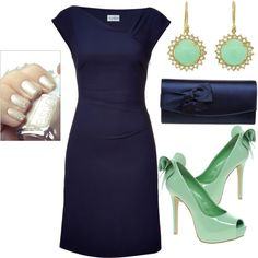 "Mint and navy- dear bride's maids, this is your get-up for the ""big day."" You...are...welcome! :)"