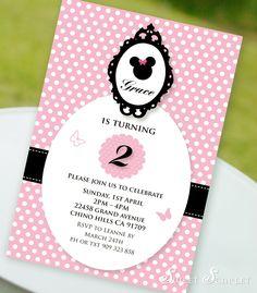 MINNIE Mouse Invitation for Birthday Party - Printable file 6x4. $12.00, via Etsy.