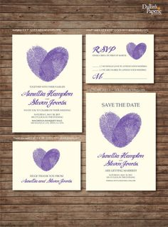 Peach fingerprint Wedding Invitation RSVP Thank your card Save the date DIY Printable - Customized No printed materials will be shipped. Purple Wedding Invitations, Diy Invitations, Wedding Stationary, Invitation Cards, Trendy Wedding, Dream Wedding, Formal Wedding, Fingerprint Wedding, Fingerprint Heart