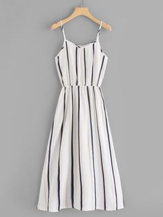 Women Boho Slip Striped Shift Trapeze Spaghetti Strap Sleeveless Natural Black and White Long Length Striped Cami Dress Cute Girl Outfits, Cute Casual Outfits, Cute Summer Outfits, Pretty Outfits, Pretty Dresses, Stylish Outfits, Cute Floral Dresses, Girls Fashion Clothes, Teen Fashion Outfits