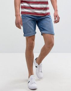 Pull&Bear Slim Fit Denim Shorts In Light Blue Wash - Blue