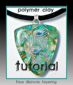 polymer clay Tutorial Faux Dichroic Peacock Pendant