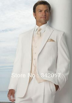 bespoke mens suit white wedding suits for men champagne vest groom wear tuxedo jacket free White Wedding Suits For Men, White Tuxedo Wedding, Ivory Tuxedo, Custom Tuxedo, Groom Tuxedo, Grey Tux, Groom Wear, Groom Attire, Dress Suits