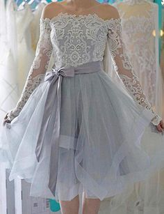Grey homecoming dress - Off Shoulder Long Sleeves Gray Tulle Short Homecoming Dress with Bowknot – Grey homecoming dress Elegant Dresses, Pretty Dresses, Sexy Dresses, Beautiful Dresses, Evening Dresses, Short Dresses, Formal Dresses, Casual Dresses, Summer Dresses