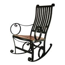 Ironhorse Rocking Chair In Wrought Iron & Reclaimed Teak