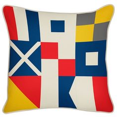 Flags Reversible Pillow design by Thomas Paul Nautical Flags, Nautical Pillows, Modern Home Furniture, Cottage Furniture, Casual Decor, Outdoor Flags, Indoor Outdoor, Outdoor Living, Stylish Home Decor