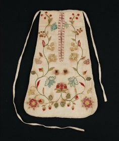 "1750-1800, America - Pocket - Cotton, linen, wool, Silk; Wool yarns embroidered on linen, initialed ""M W"""