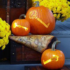 Halloween Key Pumpkins. More Creative Pumpkin Carving Ideas and Patterns: http://www.bhg.com/halloween/pumpkin-carving/pumpkin-carving-ideas/