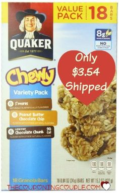 My kids love these things! Get the 18 count of Quaker Chewy Granola Bars for only $3.54 shipped!  Click the link below to get all of the details ► http://www.thecouponingcouple.com/quaker-chewy-granola-bars-18-count-only-3-54-shipped/  #Coupons #Couponing #CouponCommunity  Visit us at http://www.thecouponingcouple.com for more great posts!