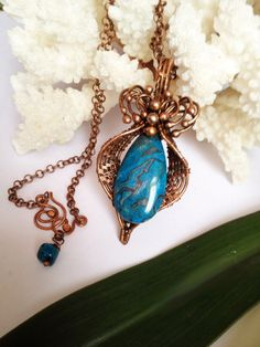 Natural blue lace agate wrapped in wire copper