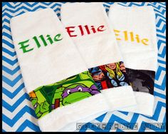Embroidered Comic Book-Inspired Washcloths, Montessori, Day Care   Geek-a-bye Baby